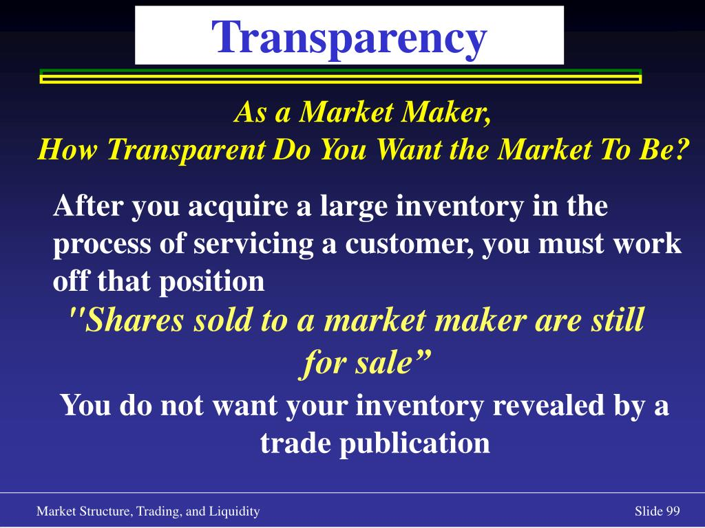 """""""Shares sold to a market maker are still for sale"""""""