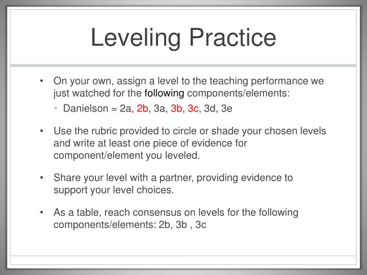 Leveling Practice
