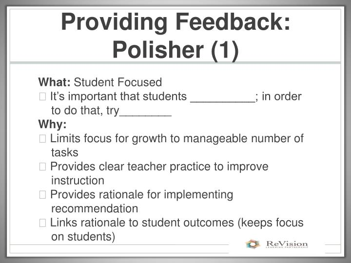 Providing Feedback: Polisher (1)