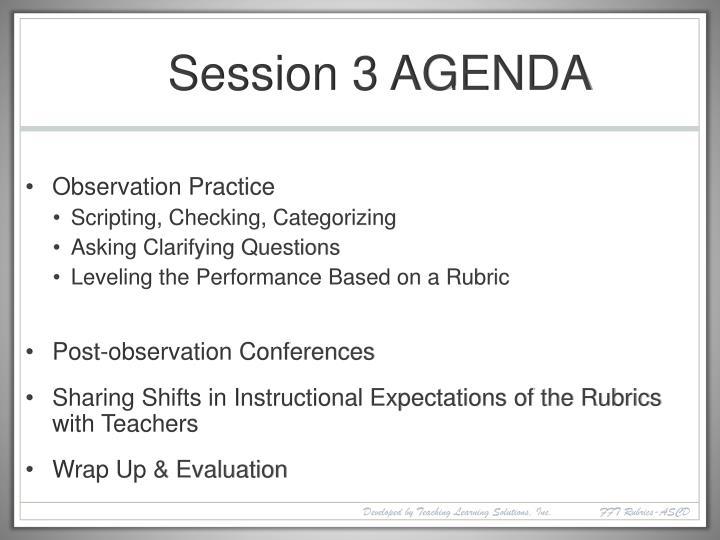 Session 3 AGENDA