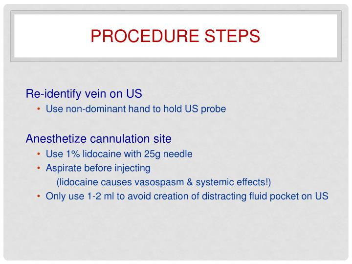 Procedure steps