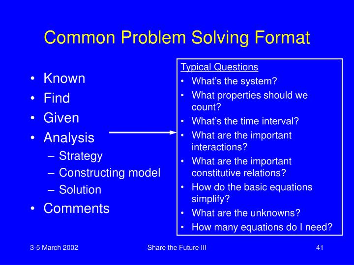 Common Problem Solving Format
