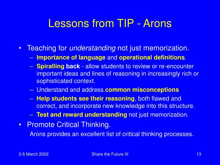 Lessons from TIP - Arons