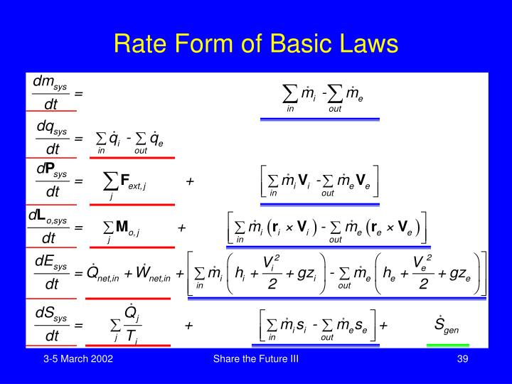 Rate Form of Basic Laws