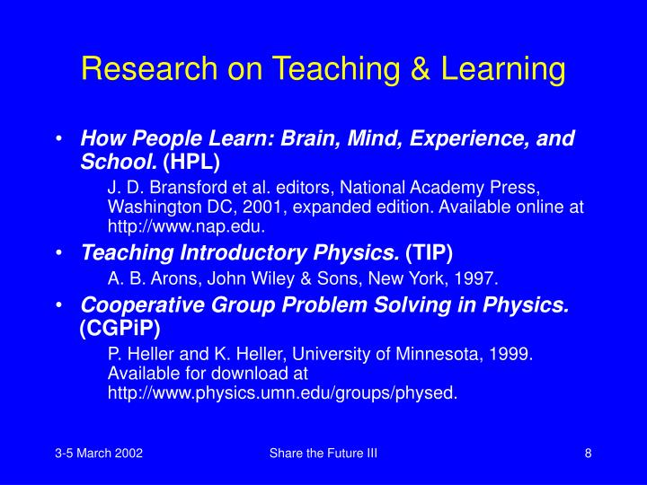Research on Teaching & Learning