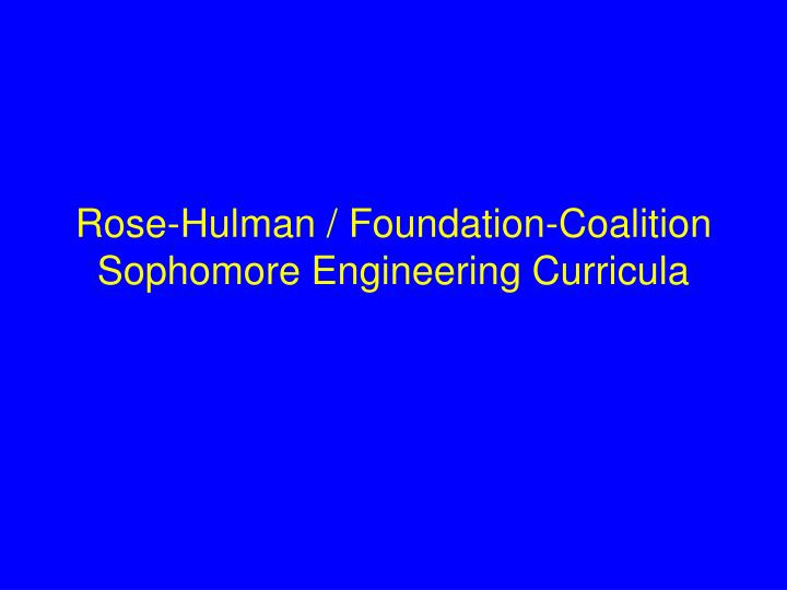 Rose-Hulman / Foundation-Coalition