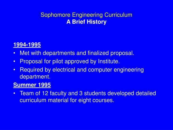 Sophomore Engineering Curriculum