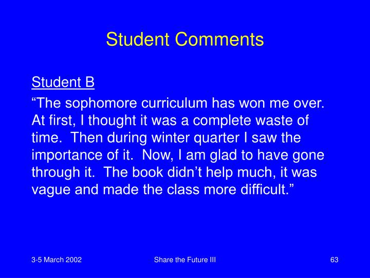 Student Comments