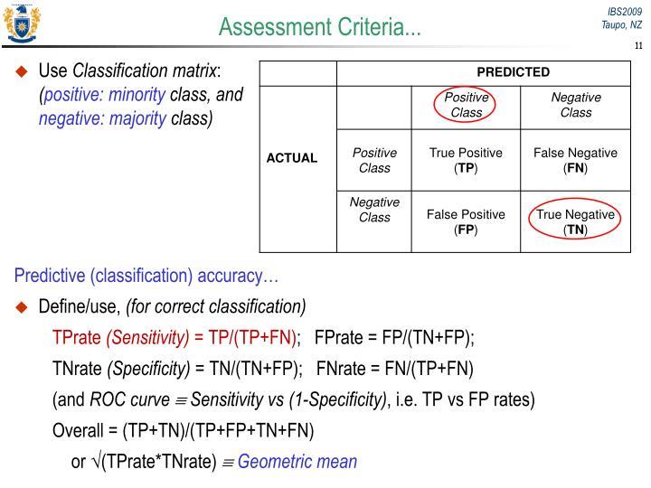 Assessment Criteria...