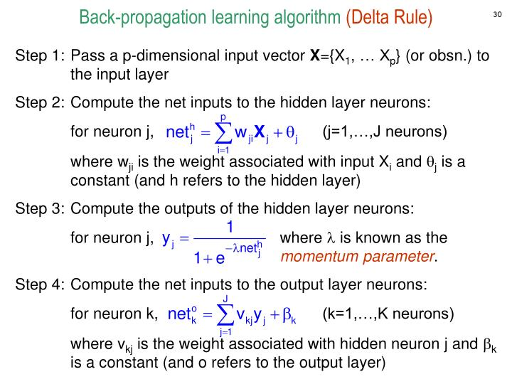Back-propagation learning algorithm