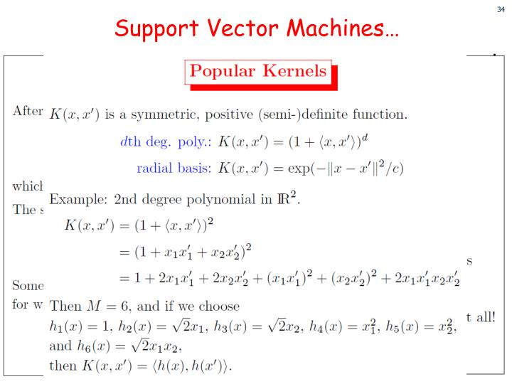 Support Vector Machines…
