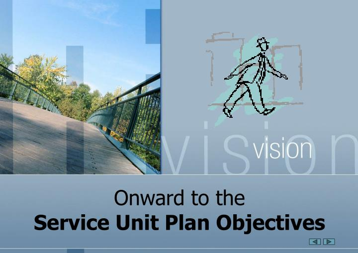 Onward to the service unit plan objectives