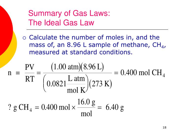 Summary of Gas Laws: