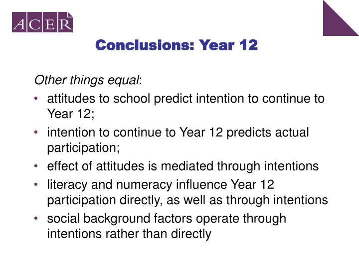 Conclusions: Year 12