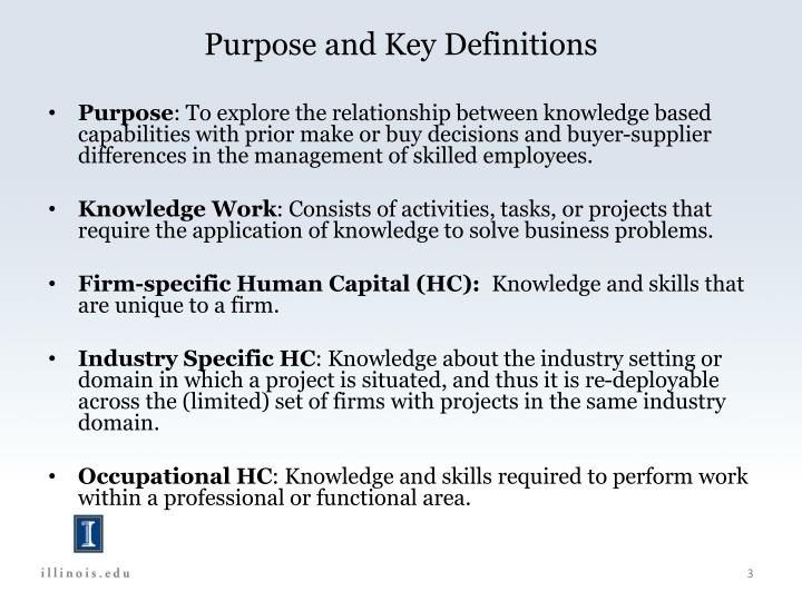 Purpose and Key Definitions