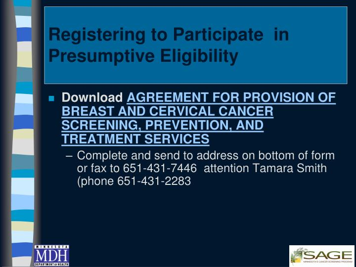 Registering to Participate  in Presumptive Eligibility