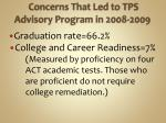 concerns that led to tps advisory program in 2008 2009