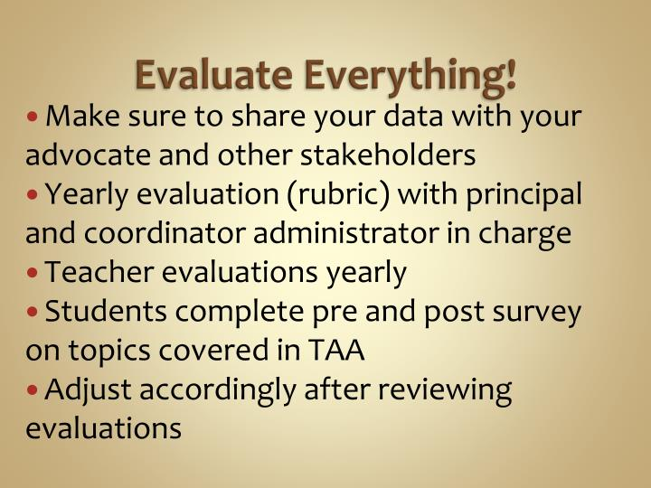 Evaluate Everything!