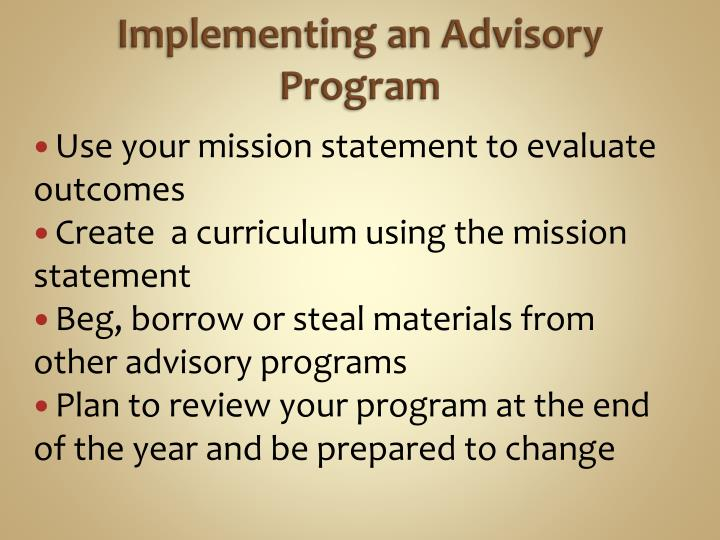 Implementing an Advisory Program