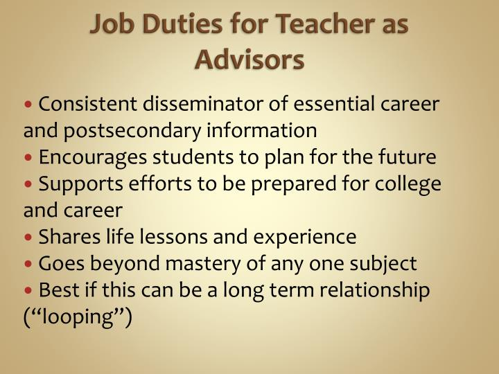 Job Duties for Teacher as