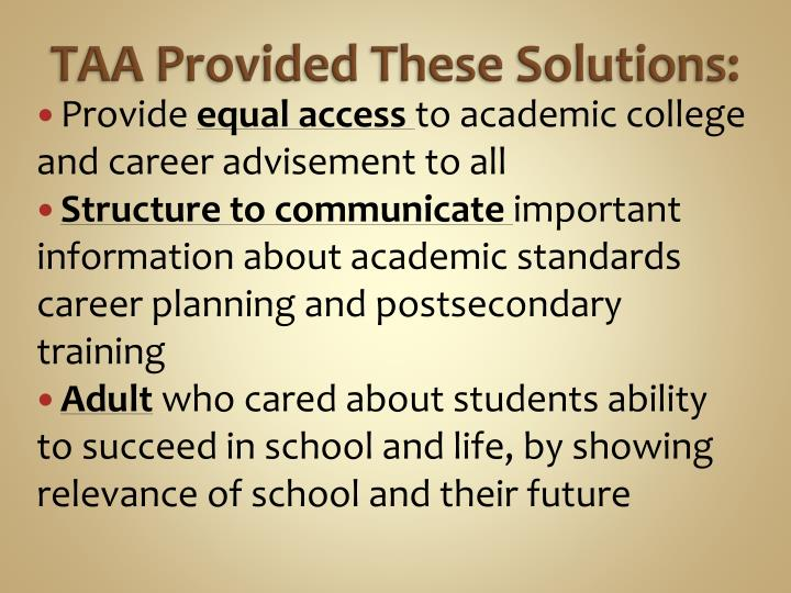 TAA Provided These Solutions: