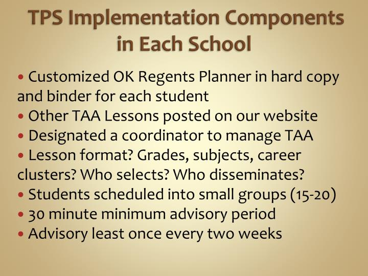 TPS Implementation Components