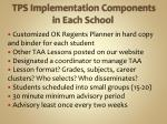 tps implementation components in each school