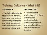 training guidance what is it
