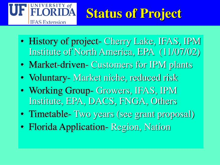 Status of Project