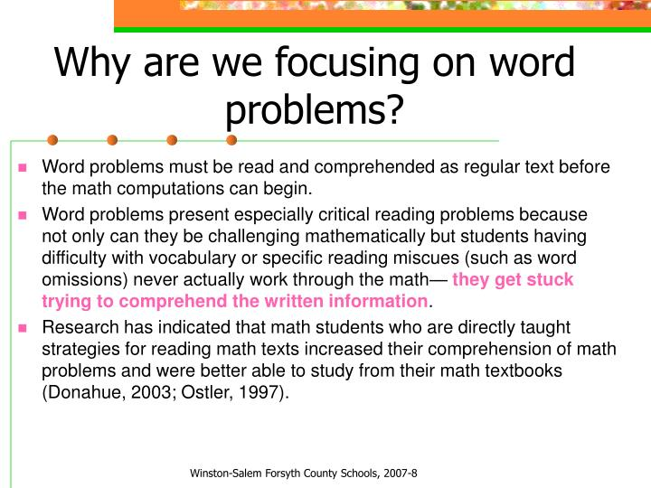 Why are we focusing on word problems?