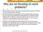 why are we focusing on word problems