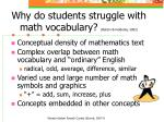 why do students struggle with math vocabulary barton heidema 2002
