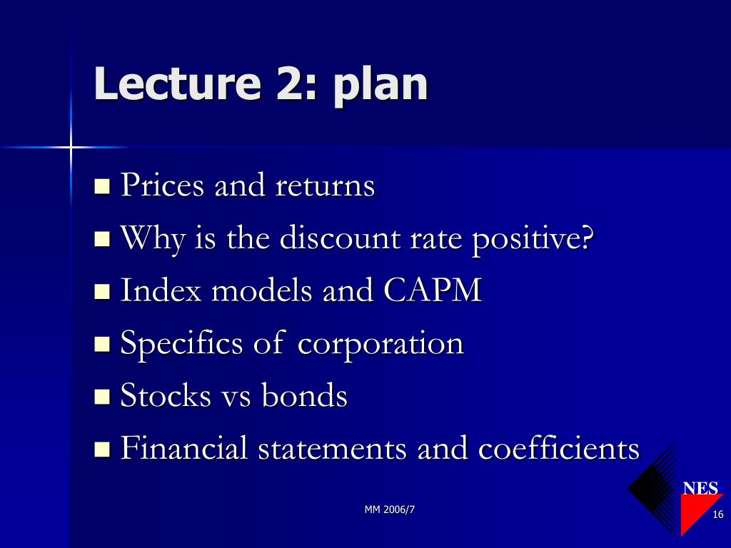 Lecture 2: plan