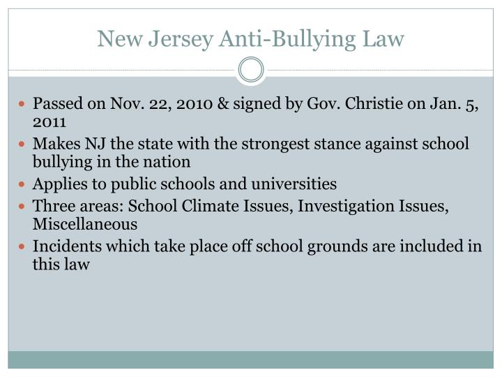 New Jersey Anti-Bullying Law