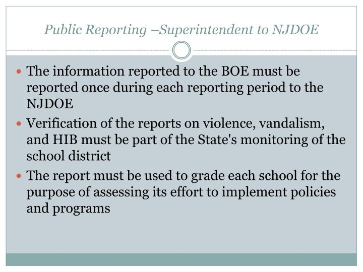 Public Reporting –Superintendent to NJDOE