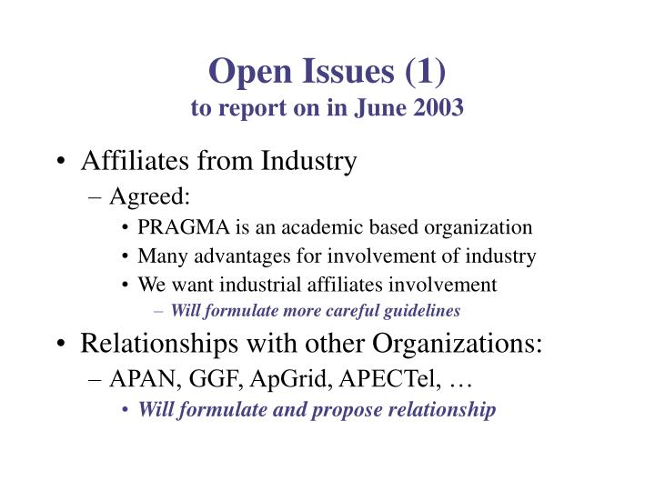Open Issues (1)