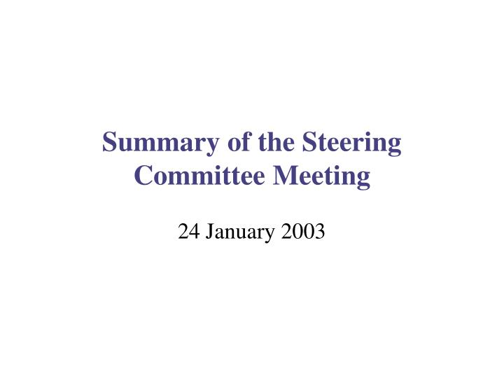 Summary of the steering committee meeting