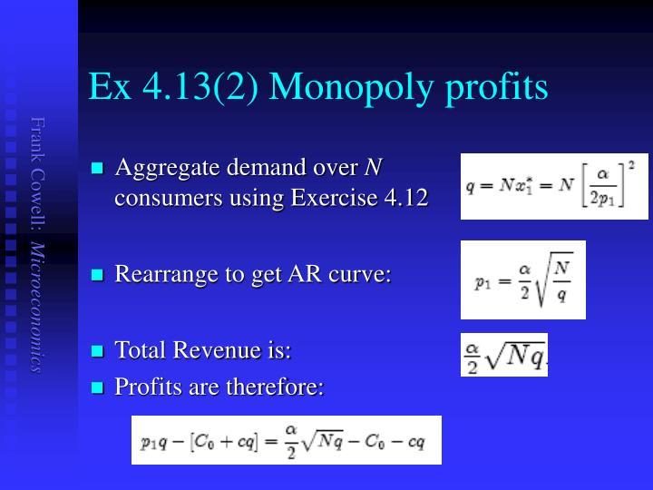 Ex 4.13(2) Monopoly profits
