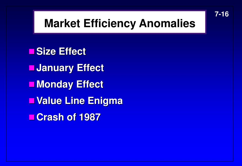 Market Efficiency Anomalies