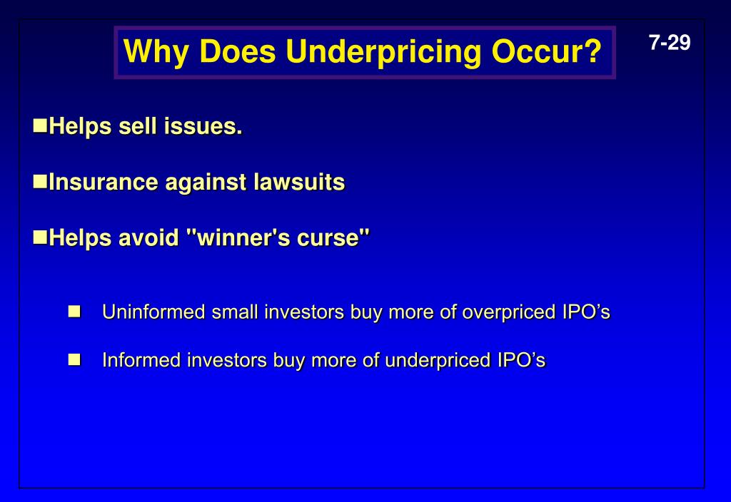 Why Does Underpricing Occur?