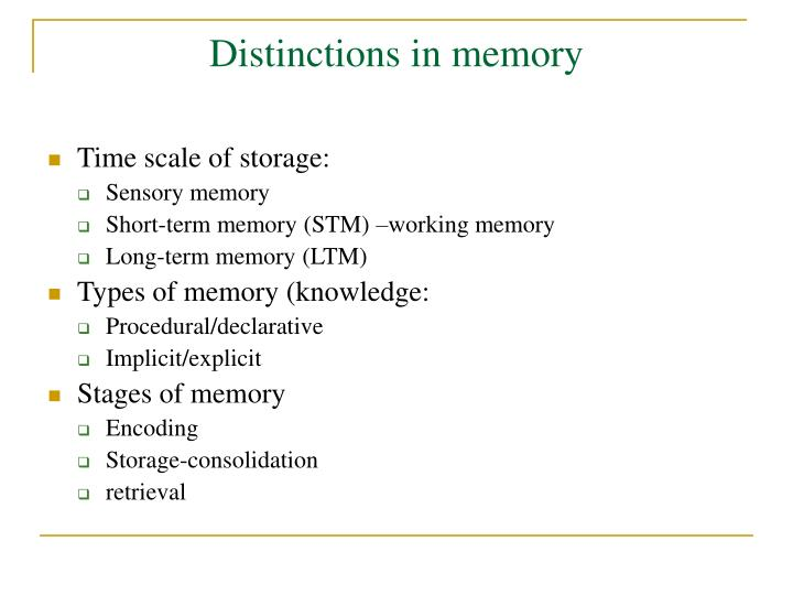 Distinctions in memory