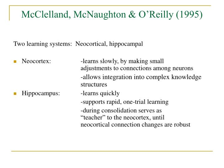 McClelland, McNaughton & O'Reilly (1995)