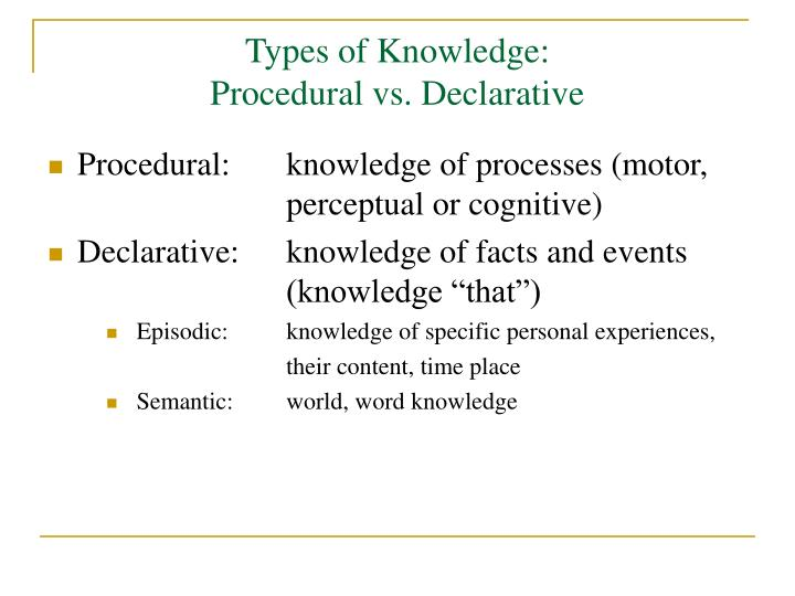 Types of Knowledge:
