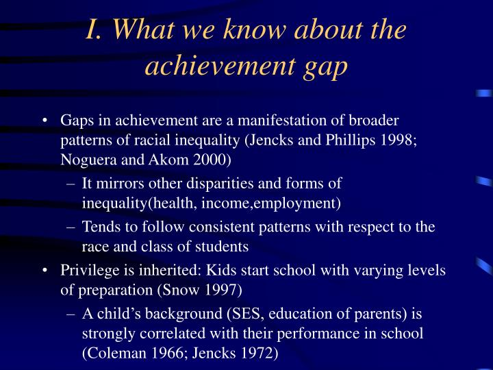 I. What we know about the achievement gap