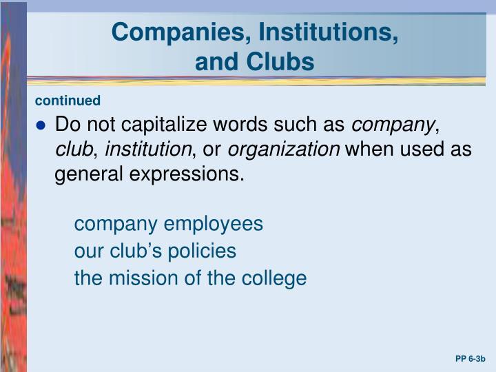 Companies, Institutions,