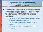 departments committees and divisions