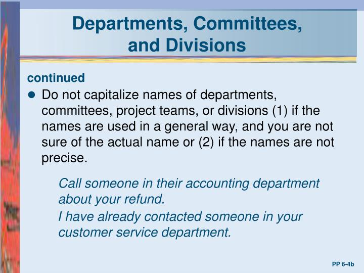 Departments, Committees,
