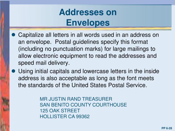 Addresses on Envelopes