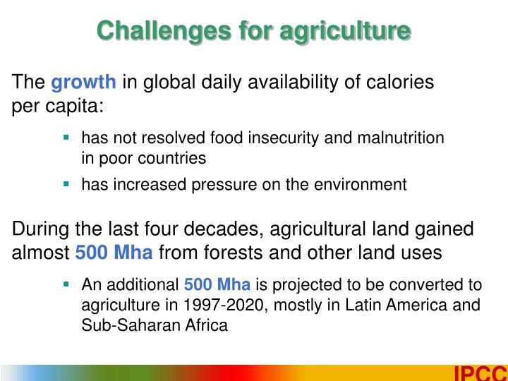 Challenges for agriculture