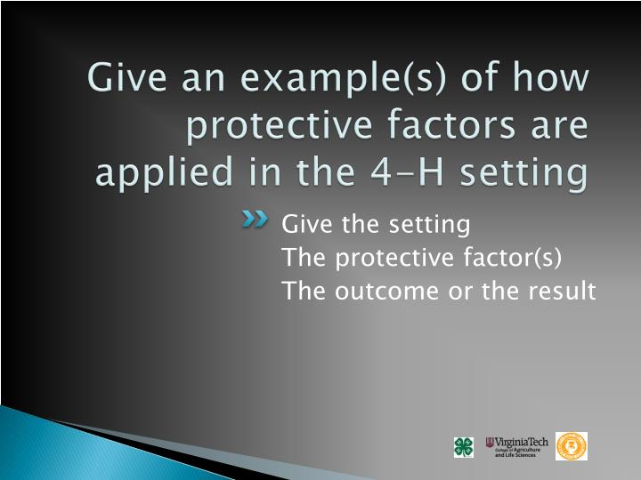 Give an example(s) of how protective factors are applied in the 4-H setting